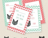 Cat Valentine's Day Cards Instant Download