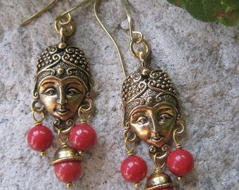 Golden Goddess Red Coral Bohemian Chandelier Earrings