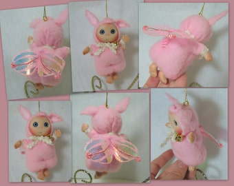 Pink Piglet  Fairy Cute Baby Pig  Baby Doll, Decoration for home, for Christmas, Collectables made to order