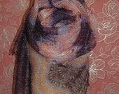 FREE SHIPPING!!! Lilac-Orange Hand-Knitted Shawl-Wrap