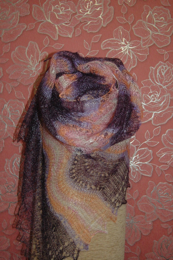 FREE SHIPPING!!! Lilac-Orange Hand-Knitted Shawl-Wrap