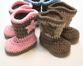 Baby cowboy boots.  Made to order.  Several sizes and colors available.  Infant crochet baby bootes, Infant cowboy boots.  Pink, blue, tan.