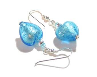 Murano Glass Aqua Heart 14mm Silver Earrings, Venetian Glass Jewelry, Italian Jewelry, Sterling Silver Leverback Earrings
