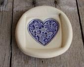Ceramic Dish, Purple Flower Heart