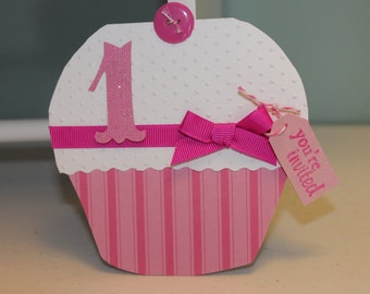 Cupcake Invitation for Birthdays, Baby Showers
