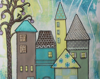 Village Painting - Tall Town Houses - Mixed Media - Landscape Whimsical Neighborhood Night Green Blue Full Moon Cool Colors Lighted Windows