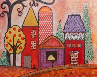 Whimsical Painting of Farm Village Rural Countryside Collage Red Yellow Barn Silo Pumpkin Fields Whimsical Wall Decor Warm Autumn Color