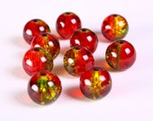 10mm red and green round crackle glass bead - multitone glass beads - Round beads - Shattered Glass beads (1166) - Flat rate shipping