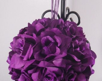 "10"" Purple Pomander Ball// Bridesmaid Bouquet // Flower Girl // Pew / Reception Flowers // Large Pomander"