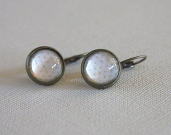 Brass Glass Cabochon Earrings,Cream Polk Dot, Lever Back Earrings,Brass