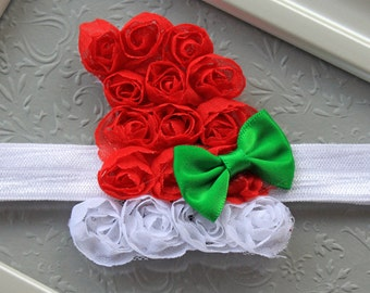 Baby Girl Santa Hat Headband - Red & White Christmas Santa Girl Hair Bow - Fun and Festive Baby Girl Christmas Headbands