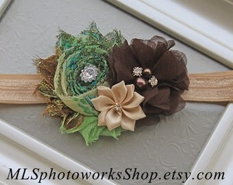 Free Shipping - Earthy Baby Girl Headband in Tones of Deep Green, Brown, Tan and Beige - Fall Headbands for Baby in Natural Forest Colors