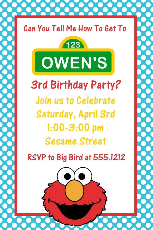 Sesame Street Elmo Birthday Party Invitation: Printable 4x6 or 5x7 ...