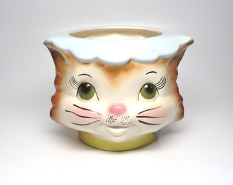 Vintage Cat Head Miss Priss Copy Ceramic Container Large Kitty Cookie Jar