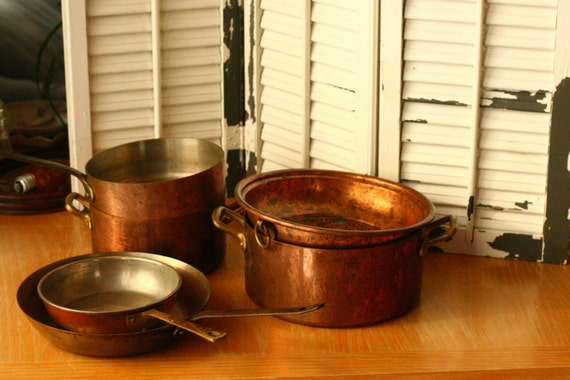 Tournus Copper Pots and Pans, Kitchen, High End Kitchen, Antique Tournus France Copper Pot and Pans with Brass Handle / French Cookware, Six