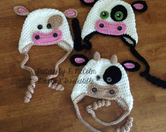 Bull Cow Hat Pattern - Crochet Pattern 4 - Beanie and Earflap Pattern - Newborn to Adult - US or UK Terms