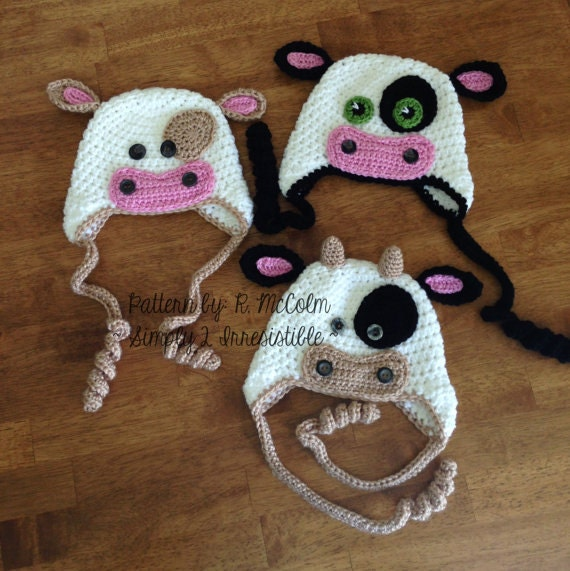 Free Crochet Pattern For Cow Hat : Bull Cow Hat Pattern Crochet Pattern 4 Beanie and Earflap