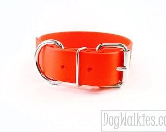 "Blaze Neon Orange - 1.5"" (38mm) Wide - Beta Biothane Dog Collar - Extra Wide Dog Collar - Your Choice of Hardware"