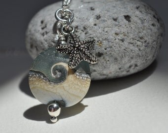 ocean wave and starfish necklace, sterling silver lampwork necklace, seafoam lampwork pendant necklace,beachcomber necklace, beach gift