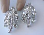 Wedding, Bridal 50s Vintage Teardrop Rhinestone Clip Earrings