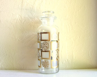 Mid-Century Glass Jar with Lid Gold Metallic Geometric Design