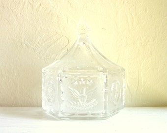 SALE Vintage Cut Glass Jar with Lid Eagle Stars Motif Federal Glass Company