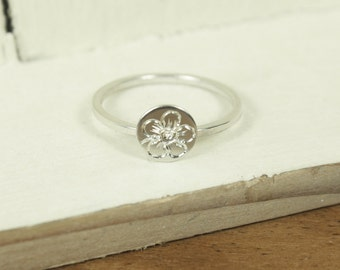 Language of Flowers - Forget Me Not - True Love Engraved Sterling Silver Ring