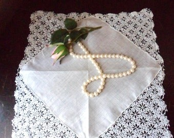 White Lace Wedding Hanky, Ladies Crocheted Lace Hanky