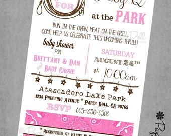 Baby Shower invitations - PINK Baby Q - BBQ Baby Shower Themed Invitations - Baby Boy - Baby Girl - Printed Invitations