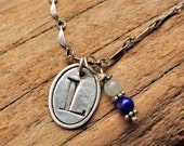 Metal Clay Initial Charm with Line Border Silver Pendant Necklace Personalized Jewelry for Mom Birthstone Bead Charm