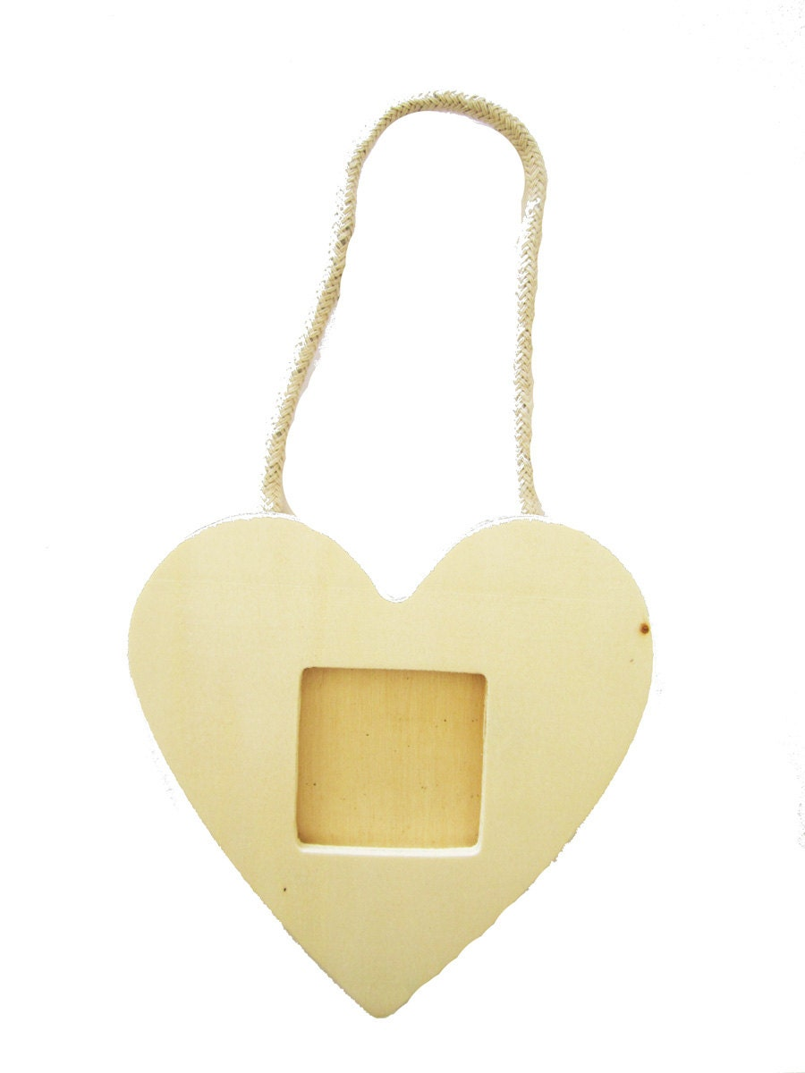 Items similar to Wooden Heart Picture Frame Kids Craft Project Art ...