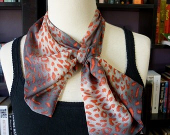 Stylish retro NECK SCARF scarflette neck-kerchief. Red Leopard Print. Multiple ways to wear. Perfect gift.