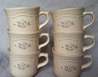Vintage Pfaltzgraff Remembrance Tea or Coffee Cups- Set of 6