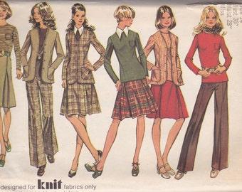 1970s Jacket, Pleated Skirt & Pants Pattern Simplicity 5194 Size 14 Uncut