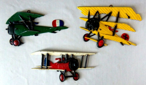 Vintage Aviation Wall Decor : Vintage airplane wall art metal biplane decoration treasury