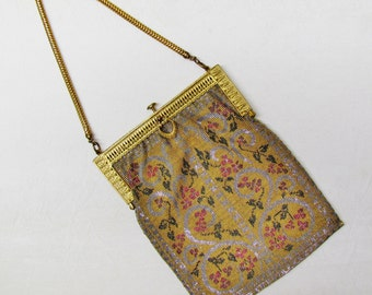Vintage gold and silver beaded purse, 1920's micro beaded formal evening bag