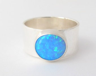Opal Silver Ring/ Sterling Silver Ring with Blue Opal/ Gemstone ring/ Wide Band/ Made To Order