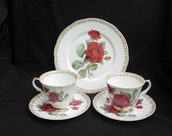 Crown Trent Fine Bone China Tea Time Set Two Cups and Saucers plus Plate Made in England