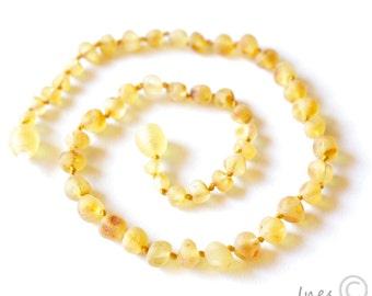 Unpolished Baltic Amber Baby Teething Necklace, Children Necklace, Infant Baltic Amber Necklace Jewelry