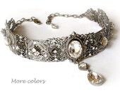 Bridal Swarovski Choker Victorian Gothic Silver Necklace Crystal Choker Bridal Necklace Victorian Gothic Jewelry - Wedding Jewelry