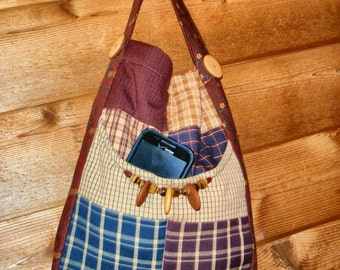 PURSE OVER the SHOULDER Homespun fabric perfect to carry your IPads or Kindles