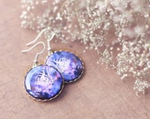 Purple butterfly earrings - summer jewelry. Purple earrings, nature jewelry, butterfly jewelry, rustic jewelry, violet earrings, romantic