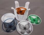 Vintage 70s Crown Plastics Butterfly Coaster Set