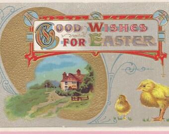 Ca. 1930s Easter Greetings Postcard w/ Chicks - 71