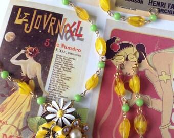 Vintage Handmade Ooak Enamel Bees Dream Rhinestone Beaded Necklace Earrings Set