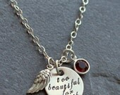 Custom Personalized Hand Stamped Too Beautiful For Earth Sterling Silver Angel Wing Loss Miscarriage Memorial Charm Necklace