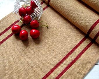 Burlap Table Runner / grain sack stripes / Rustic Table Runner / Cottage Decor / Custom Gift / Western Decor / Coastal Decor / Beach Decor