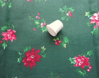 christmas floral print vintage cotton fabric -- 45 wide by 1 yard