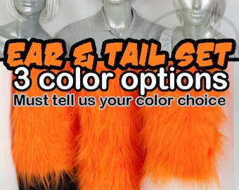 Orange Furry Fox Tail and Ears, Cosplay, Accessories, Costume, Highly Customizable