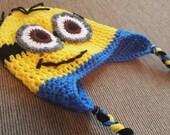 Crochet Minion inspired Earflap Hat